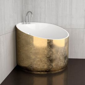 WS Bath Collections Mini Shower Bathtub in Gold Leaf / Glossy White