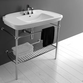 WS Bath Collections Nova 100C Ceramic Console Bathroom Sink with Chrome Structure 39.4""