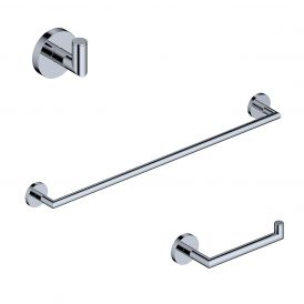 "WS Bath Collections Pura WSBC 203290A CR Bathroom Accessory Set with 24"" towel bar, toilet paper holder & bathroom hook"