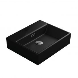 WS Bath Collections Quattro 50.00 Bathroom Sink in Matte Black without Faucet Hole
