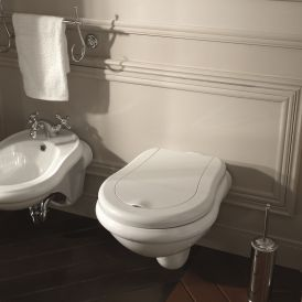 WS Bath Collections Retro Wall Mounted Toilet in Ceramic White