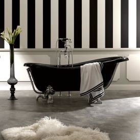 Retro 1051 Glass Resin Bathtub In Black with Metal Feet