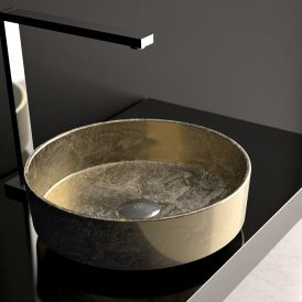 """WS Bath Collections Rho Lux Vessel Bathroom Sink in Gold Leaf 3D 16.1"""""""