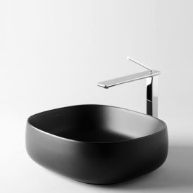 "WS Bath Collections Seed 45.40 BM Vessel Bathroom Sink in Matte Black 18.1"" x 16.1"""