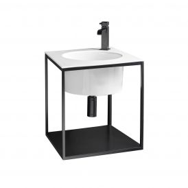 WS Bath Collections Skyland 32133.01+CP484809T Matte Black Wall-Mount Integrated Structure with Sink 18.9""