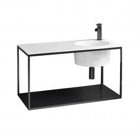 """WS Bath Collections Skyland 32137.01+CP488009 Matte Black Wall-Mount Integrated Structure with Sink 31.7"""""""