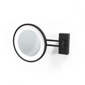 Smile 360 Hard Wired LED Lighted 5x Magnifying Mirror in Matte Black