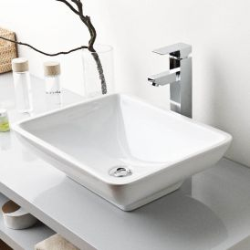 "WS Bath Collections Top 140 Vessel Bathroom Sink in Ceramic White 19.3"" x 15.4"""
