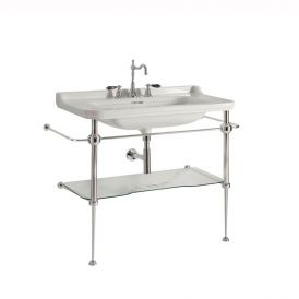 WS Bath Collections Waldorf 4142K1+9196K1 Console Bathroom Sink with Metal Stand 39.4""