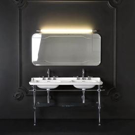 WS Bath Collections Waldorf 4143K1+9195K1 Double Console Bathroom Sink 59.1""