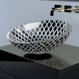 """WS Bath Collections Xeni Round Vessel Bathroom Sink in Hand Cut Crystal 17.3"""""""