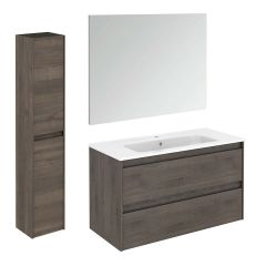 WS Bath Collections Ambra 100 Pack 2 Wall Mounted Bathroom Vanity with Column and Mirror