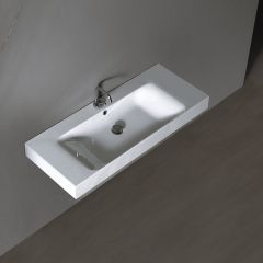 """WS Bath Collections Cento 3550 Wall Mounted / Vessel Ceramic Bathroom Sink 39.4"""" x 17.7"""""""