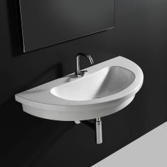 """WS Bath Collections Kart 86 Wall Mounted / Vessel / Drop-in Bathroom Sink in Ceramic White 33.9"""" x 16.9"""""""