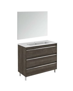WS Bath Collections Belle 100 Pack 1 Free Standing Bathroom Vanity with Mirror