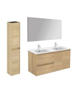 WS Bath Collections Ambra 120DBL Pack 2 Wall Mounted Double Bathroom Vanity with Column and Mirror