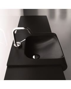 "WS Bath Collections Inka 3411 Black Semi-Recessed Bathroom Sink 23.6"" x 15.7"""