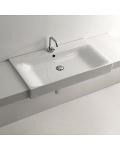 "WS Bath Collections Cento 3549 Semi-Recessed Bathroom Sink 31.5"" x 17.7"""
