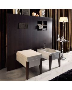 WS Bath Collections Bentley 3915C Wall Mounted Ceramic Toilet with Wooden Legs