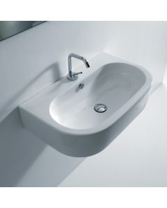 "WS Bath Collections Flo 3150 Wall Mounted / Vessel Bathroom Sink 27.6"" x 16.5"""