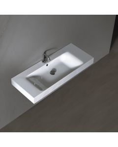 "WS Bath Collections Cento 3550 Wall Mounted / Vessel Ceramic Bathroom Sink 39.4"" x 17.7"""