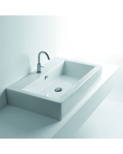 "WS Bath Collections Quad 80 Wall Mounted / Vessel Bathroom Sink 31.5"" x 20.5"""