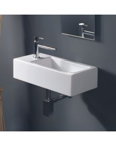 "WS Bath Collections LVR 807 Wall Mounted / Vessel Ceramic Bathroom Sink 19.7"" x 9.8"""