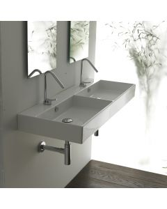 WS Bath Collections Unlimited 120 Wall Mounted / Vessel Double Bathroom Sink 47.2""