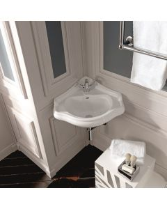 "WS Bath Collections Retro 1032 Corner Bathroom Sink 22.6"" x 22.8"""