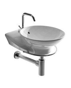 "WS Bath Collections Swan 3420 Wall Mounted/ Vessel Bathroom Sink 11.8"" x 16.9"""