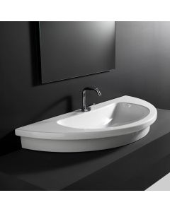 """WS Bath Collections Kart 106 Wall Mounted / Vessel / Drop-in Bathroom Sink in Ceramic White 41.7"""" x 18.9"""""""
