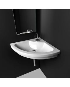 "WS Bath Collections Kart 57 Wall Mounted / Vessel / Drop-in Bathroom Sink in Ceramic White 30.7"" x 22.4"""