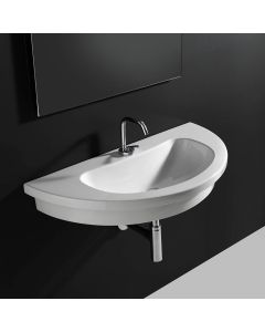 "WS Bath Collections Kart 86 Wall Mounted / Vessel / Drop-in Bathroom Sink in Ceramic White 33.9"" x 16.9"""