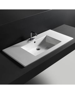 "WS Bath Collections Drop 106 Wall-Mount or Drop-in Bathroom Sink in Ceramic White 41.7"" x 20.1"""