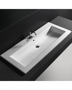 """WS Bath Collections Drop 121 Wall-Mount or Drop-in Bathroom Sink in Ceramic White 47.2"""" x 20.1"""""""