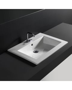 "WS Bath Collections Drop 71 Wall-Mount or Drop-in Bathroom Sink in Ceramic White 28.0"" x 20.1"""