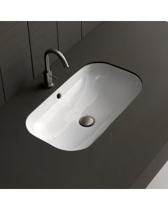 WS Bath Collection Ciotola 66U Undermounted Bathroom Sink in Ceramic White