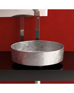 WS Bath Collections Rho Lux Vessel Bathroom Sink in Silver Leaf 3D 16.1""