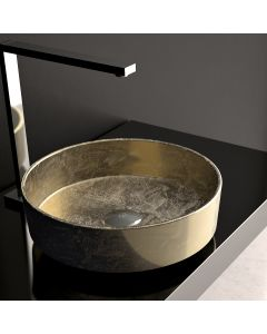 WS Bath Collections Rho Lux Vessel Bathroom Sink in Gold Leaf 3D 16.1""