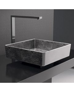 "WS Bath Collections Four Lux Vessel Bathroom Sink in Silver Leaf 3D 15.7"" x 15.7"""