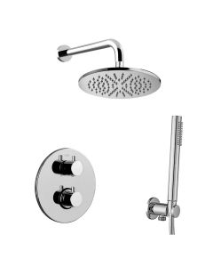 WS Bath Collections Light KIT LIQ 018 Complete Shower Set with Shower Head, Hand Shower, and Faucet in Polished Chrome