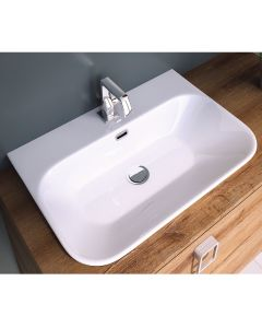 WS Bath Collections Edge 4365 Wall Mount / Vessel Ceramic White Bathroom Sink 26.3""