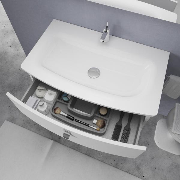 The Seamless Design of Bathroom Sink Incorporated into a Vanity